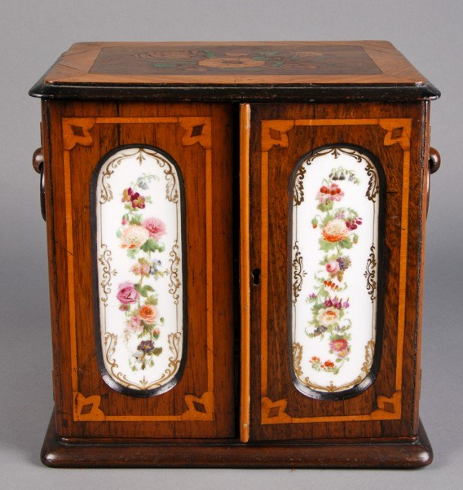 2: French 19C Marquetry & Porcelain Jewelry -Coin Chest