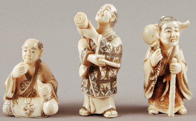 4: 3 Signed Japanese Carved Ivory Netsukes of Men