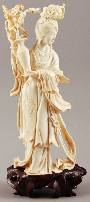 "5: Carved Old Chinese Ivory 7"" Quan Yin Woman with Vase"