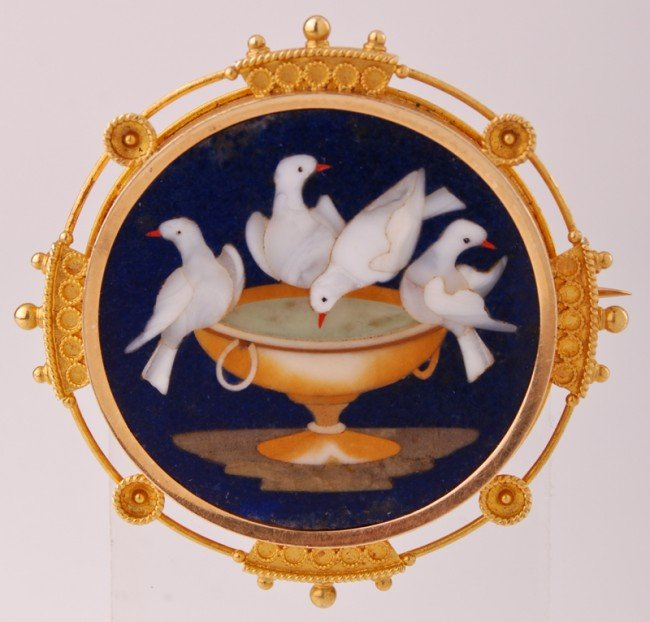 9: Etruscan 14K Gold Pietra Dure -Doves of Pliny Brooch