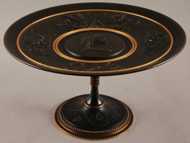 13: Ornate 19C Neo-Classical Bronze Calling Card Tazza