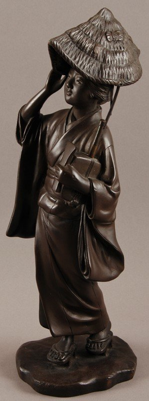 "14: Signed Japanese Bronze 13"" Geisha Woman Sculpture"