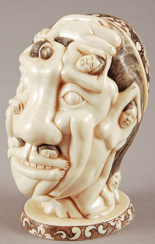 16: Carved Ivory Erotic Nude Metamorphis Head