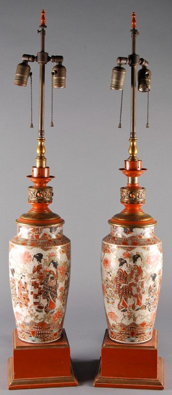 17: Pair Japanese Arita Porcelain Lamps w French Mounts