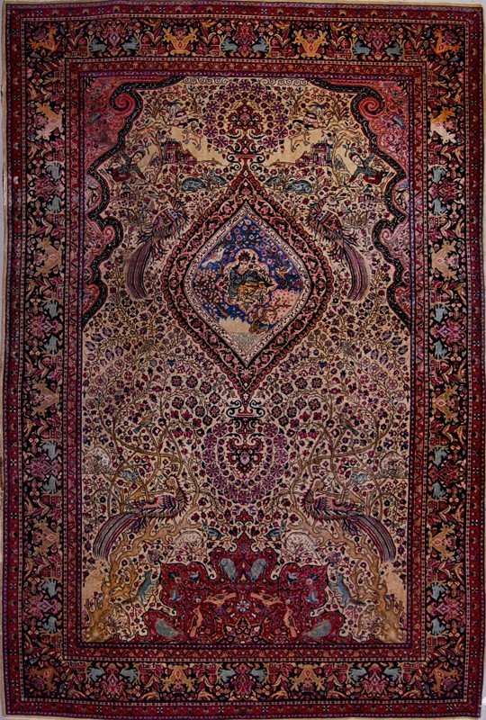 19: Kashan Antique Pictorial Persian Oriental Rug 8'x6'