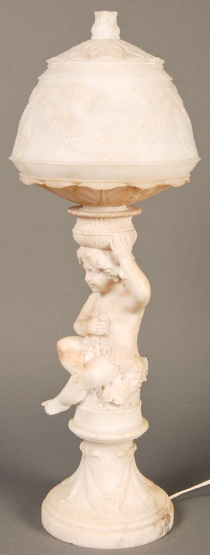 "20: Antique Carved 19C Alabaster Putti 23"" Lamp & Shade"
