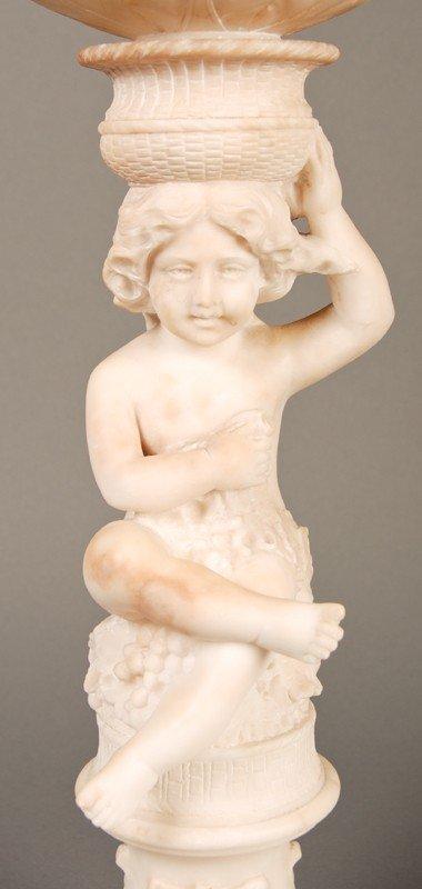 "20: Antique Carved 19C Alabaster Putti 23"" Lamp & Shade - 3"