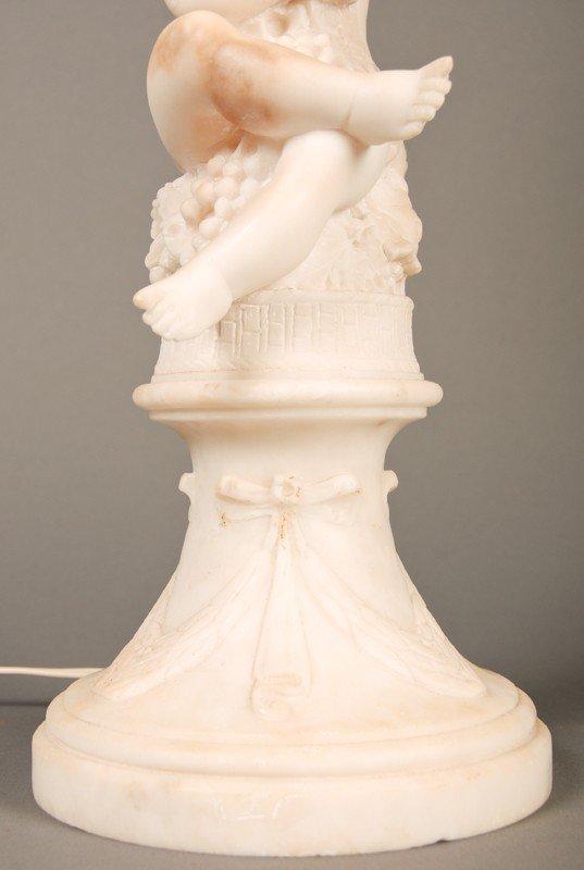 "20: Antique Carved 19C Alabaster Putti 23"" Lamp & Shade - 6"