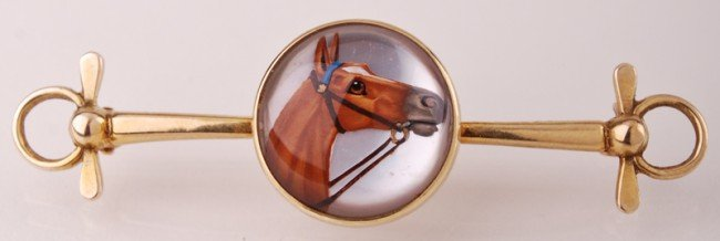 22: Equestrian 14K Gold Riding Crop - Horse Crystal Pin