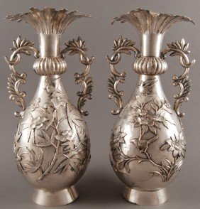 "Pair Of Ornate Chinese Sterling Silver 12"" Vases"