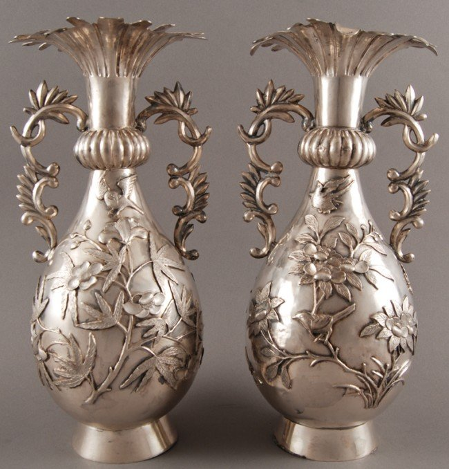 "25: Pair of Ornate Chinese Sterling Silver 12"" Vases"