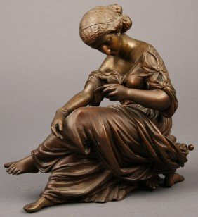 French 19C Bronze Sculpture Of  Woman - Rich Patina