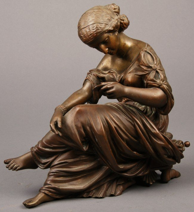 31: French 19C Bronze Sculpture of  Woman - Rich Patina