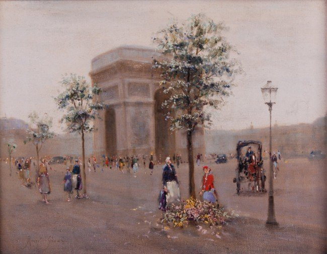 32: Andre Gisson 1921-2003 Paris ArcdeTriomphe Painting
