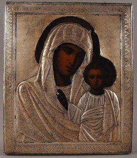 Russian .84 Coin Silver 19C. Madonna & Child  Icon