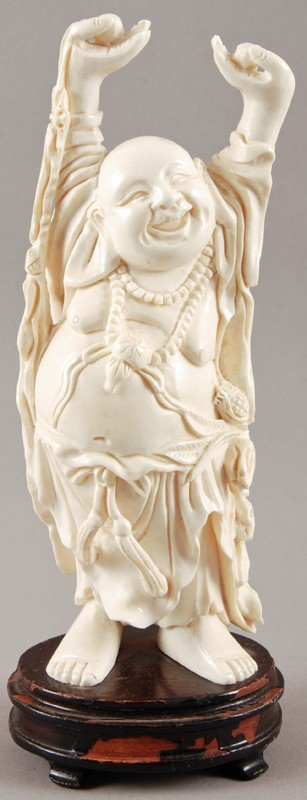 "35: Carved 7"" Chinese Ivory Figure of Happy Buddha"