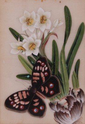 Chinese Silk Paintings Of Butterflies & Flowers 4