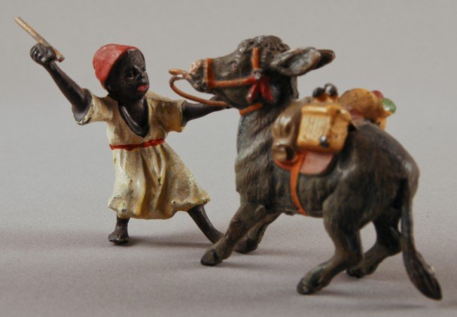 42: Austrian Cold Painted Spelter Arab Boy with Donkey