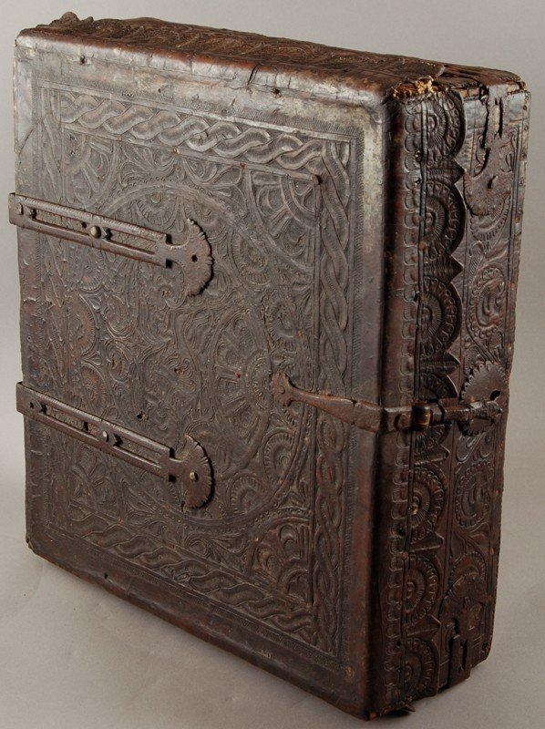 43: Early 18th C. Leather Embossed Bible or Book Box