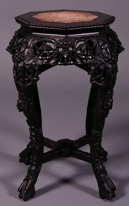 45: Chinese Carve Rosewood 1920s Marble Octagonal Table
