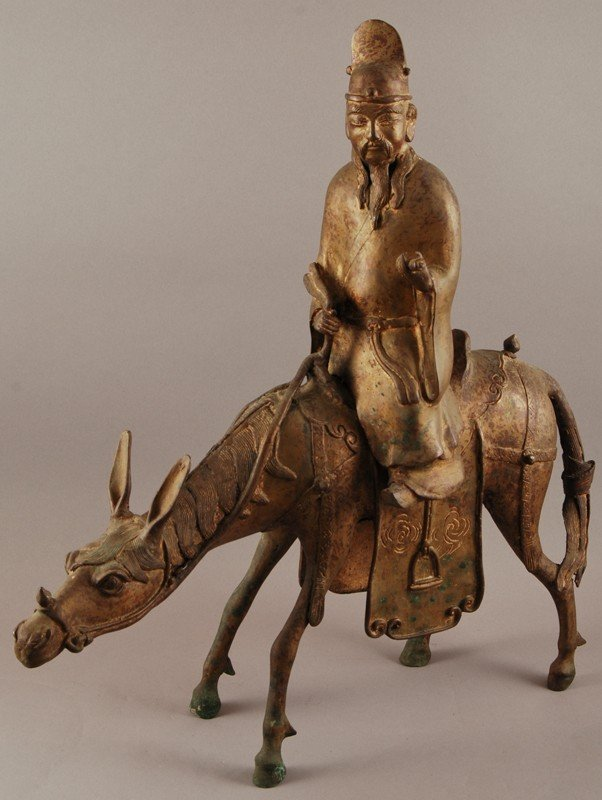 46: Chinese Bronze Sculpture Man on Horse