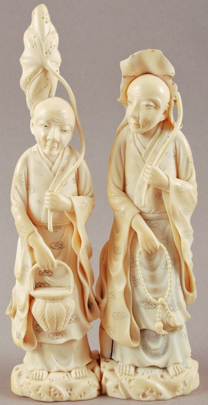 47: Japanese Carved Ivory Wise Men & Lotus Blossoms