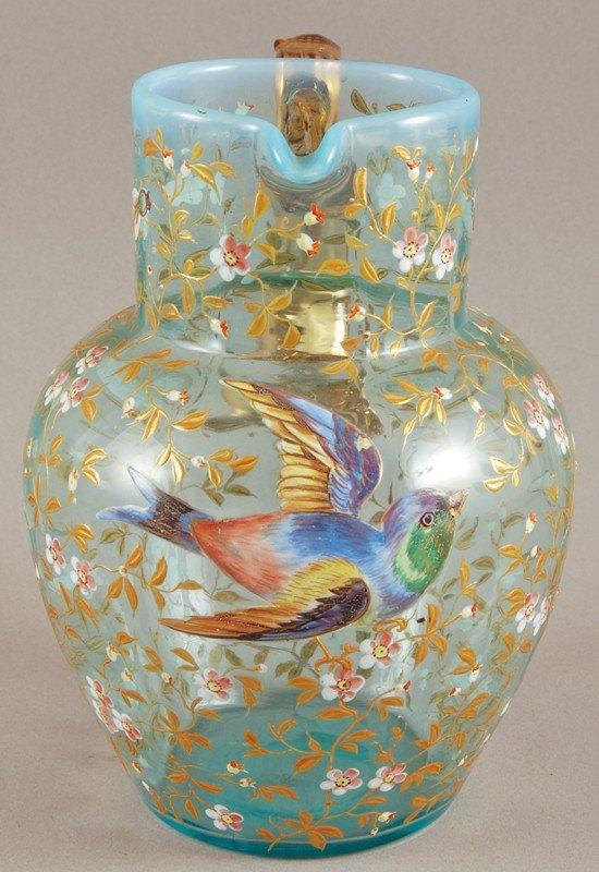 100: Blue Opalescent 19C Moser Art Glass Pitcher