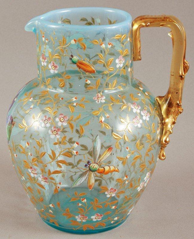100: Blue Opalescent 19C Moser Art Glass Pitcher - 2