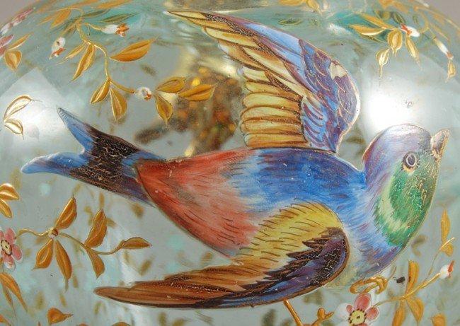 100: Blue Opalescent 19C Moser Art Glass Pitcher - 3