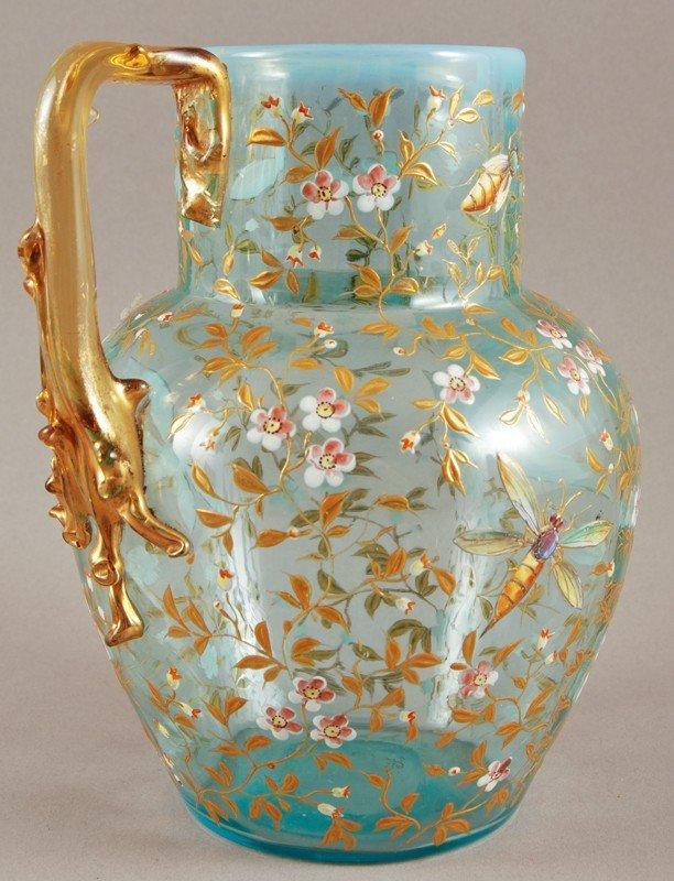 100: Blue Opalescent 19C Moser Art Glass Pitcher - 4