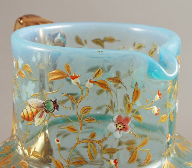 100: Blue Opalescent 19C Moser Art Glass Pitcher - 5