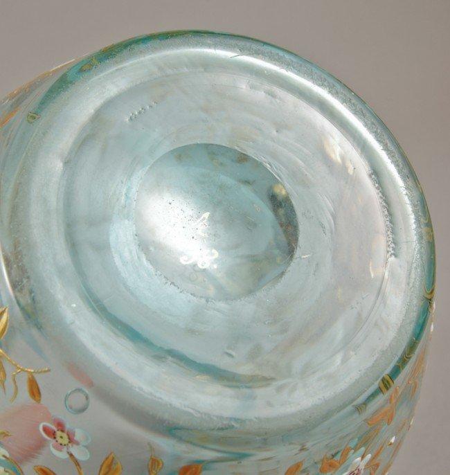 100: Blue Opalescent 19C Moser Art Glass Pitcher - 7