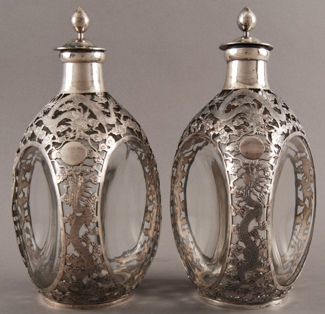 186: Pair of Chinese Silver Overlay Haig Pinch Bottles