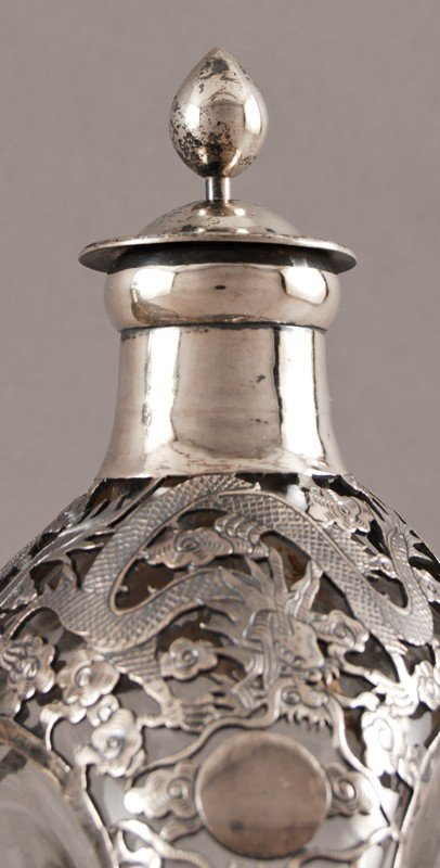 186: Pair of Chinese Silver Overlay Haig Pinch Bottles - 3