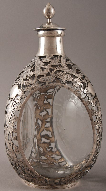186: Pair of Chinese Silver Overlay Haig Pinch Bottles - 4
