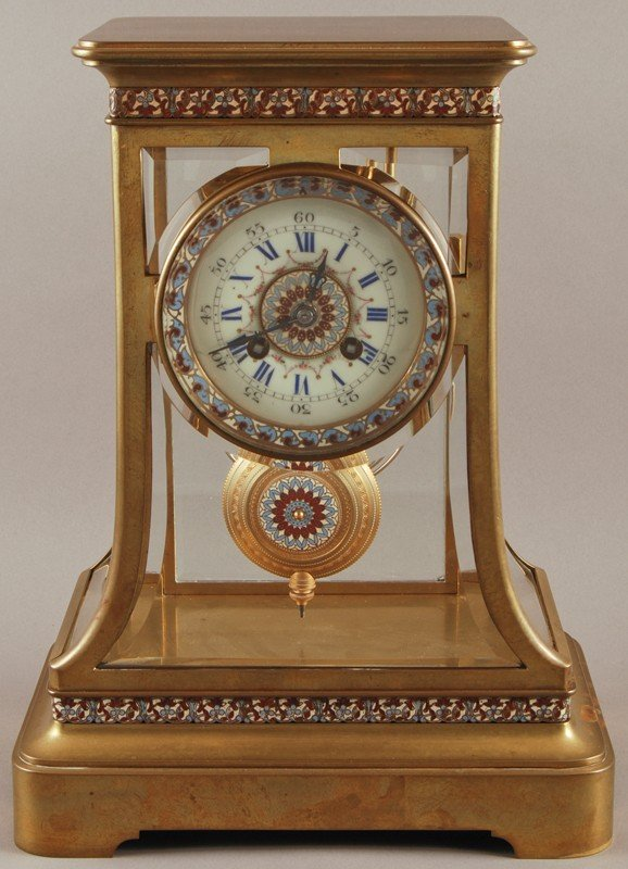 365: French Enameled Brass Crystal Regulator Clock