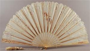 404: French 19C Handpainted Brise & Hade Made Lace Fan