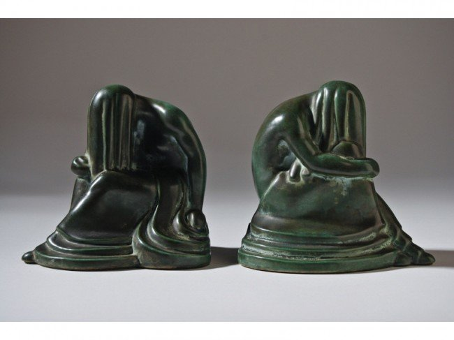 1: Early Frankoma Art Pottery Weeping Nude Bookends