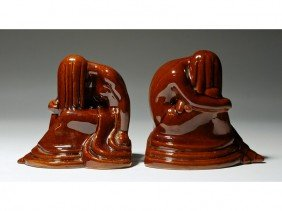8: Weeping Nude Frankoma Art Pottery Deco Bookends