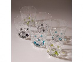 "9: Boxed Set of 6 Lalique ""Floride""  Art Glass Glasse"