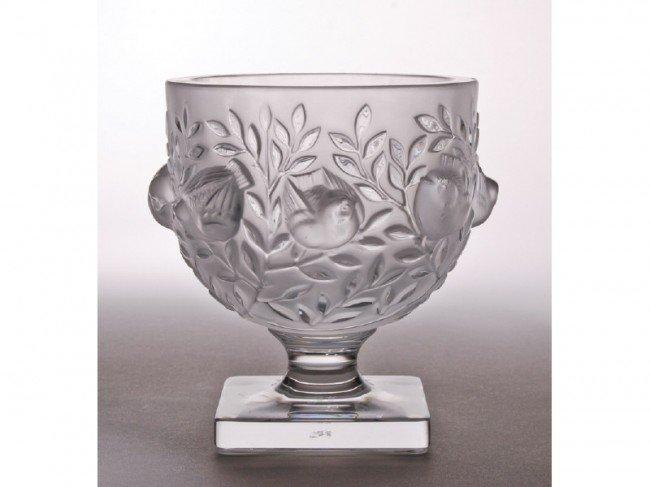 10: Lalique French Art Glass Doves Bird Vase