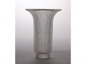 11: R Lalique France French Art Glass Palm Leaf  Vase