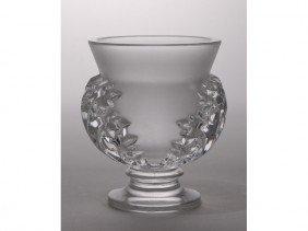 12: Lalique France French Art Glass Leaf Vase