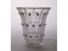 13: French Lalique Art Glass Triangle Lamp Shade