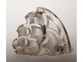 14: Lalique French Art Deco Glass Corner Sconce Lamp