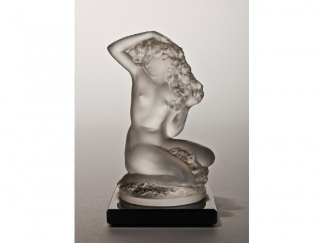 16: Signed Lalique Art Glass Nude Figurine