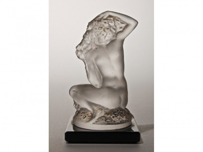 16: Signed Lalique Art Glass Nude Figurine - 2