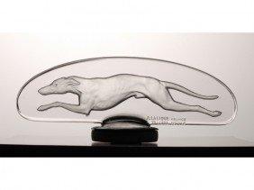 17: R. Lalique Glass Greyhound Levrier Car  Mascot