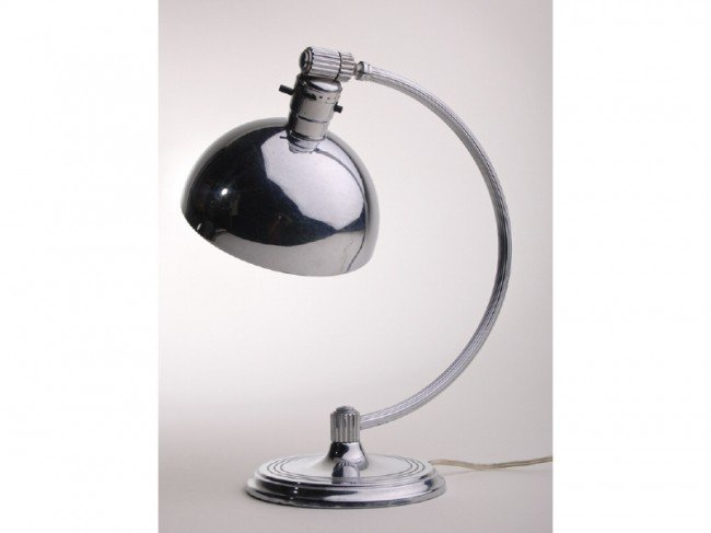 21: Art Deco Signed Chase Chrome Table Lamp