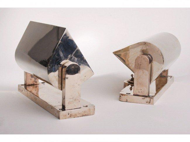 23: Pair  English Art Deco Nickel over Brass Sconces